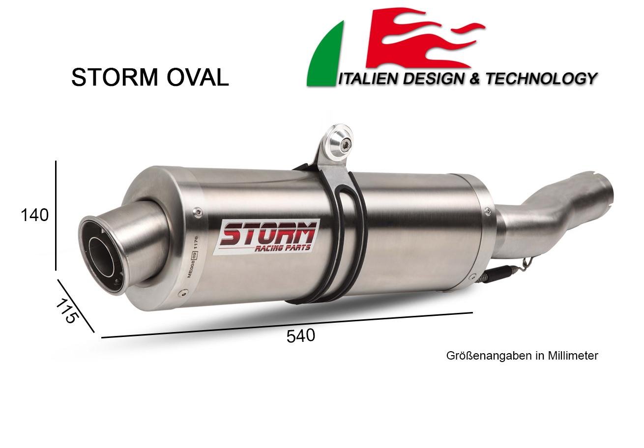 Storm Oval Edelstahl Motorrad Auspuff