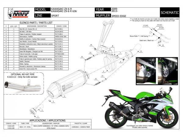 MIVV Kawasaki ZX-6 R 636 Auspuff Speed Edge 2013 bis 2016