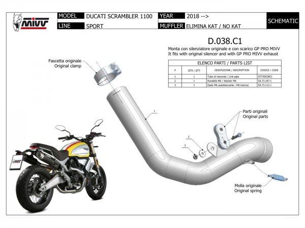 MIVV Ducati SCRAMBLER 1100 Kat-Ersatzkrümmer ab 2018