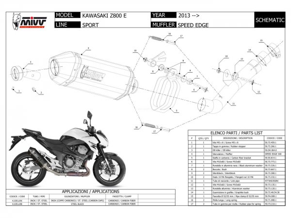 MIVV Kawasaki Z 800 E Auspuff Speed Edge 2013 bis 2016