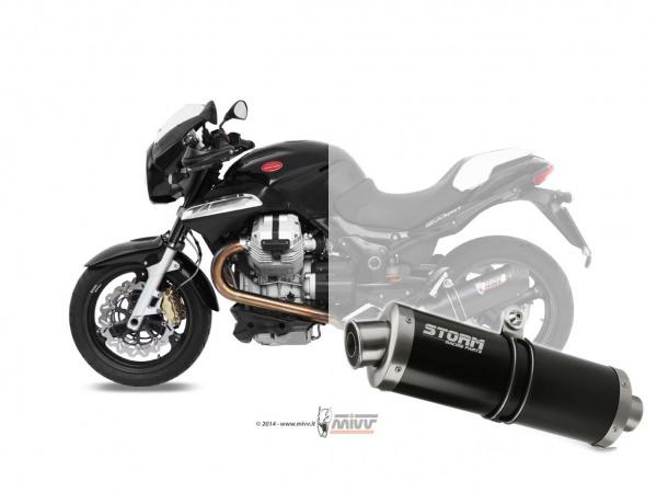 STORM Oval Schwarz Moto Guzzi BREVA 1200 Auspuff 2007 bis 2011