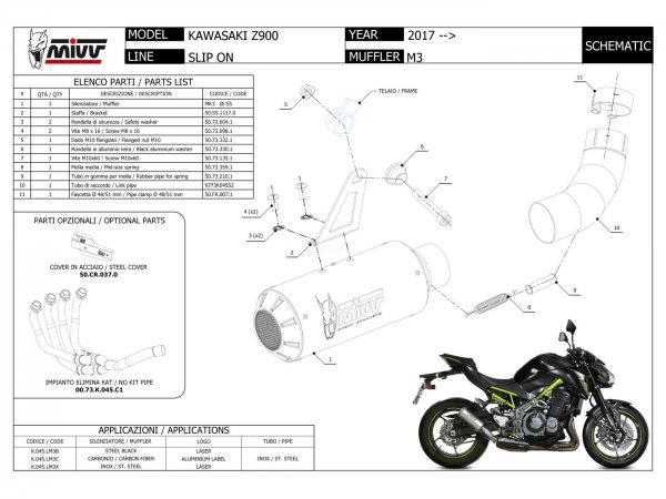 MIVV Kawasaki Z 125 Auspuff Delta Race ab 2019 | Alle