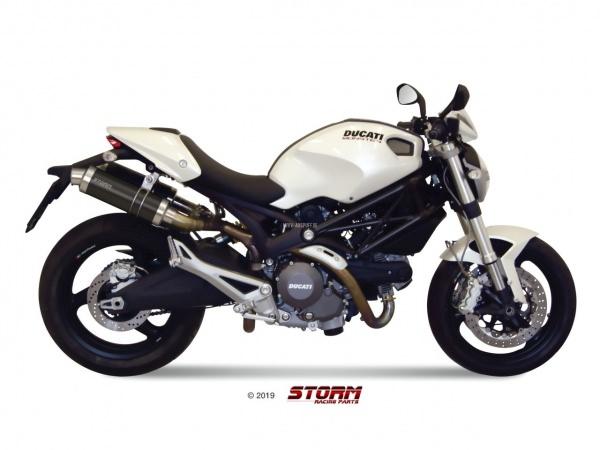 STORM GP Schwarz Ducati MONSTER 696 Auspuff 2008 bis 2014