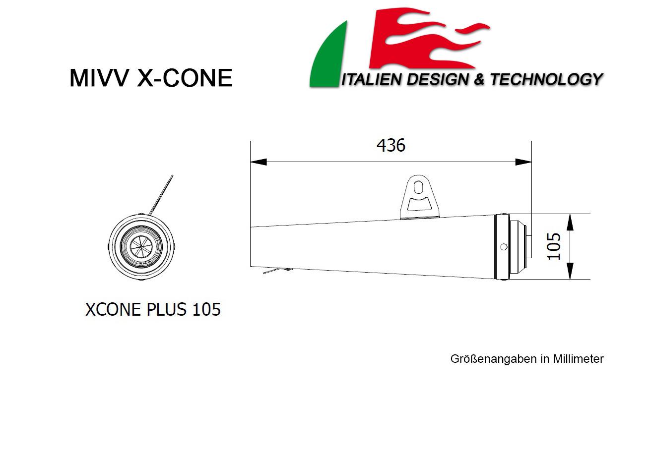 MIVV Triumph X-Cone Plus Tiefgelegt SPEED TRIPLE Auspuff ab 2007 bis 2010