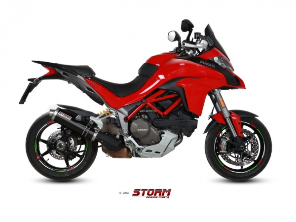 STORM Oval Schwarz Ducati MULTISTRADA 1200 Auspuff 2015 bis 2017