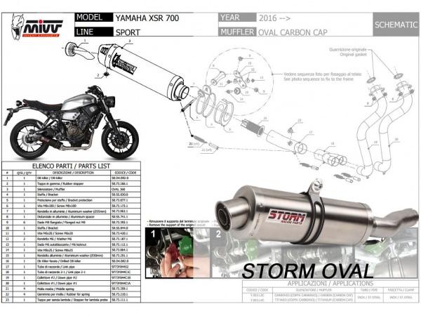 STORM Oval Yamaha XSR 700 Auspuff ab 2016
