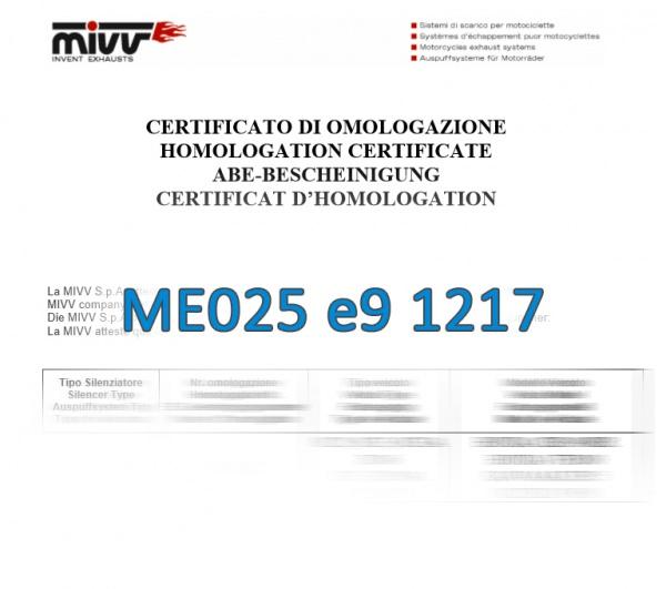 MIVV Zulassung ABE ME025 e9 1217