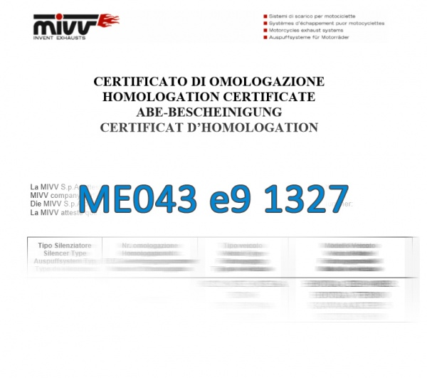 MIVV ABE ME043 e9 1327 Zulassung