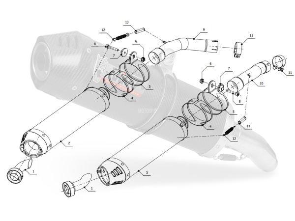 MIVV Yamaha Auspuff Oval Underseat YZF 1000 R1 ab 2004 bis 2006