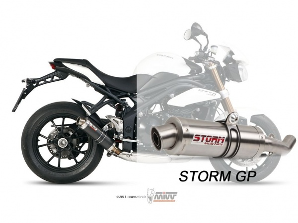 STORM GP Triumph SPEED TRIPLE Auspuff tiefgelegt 2011 bis 2015