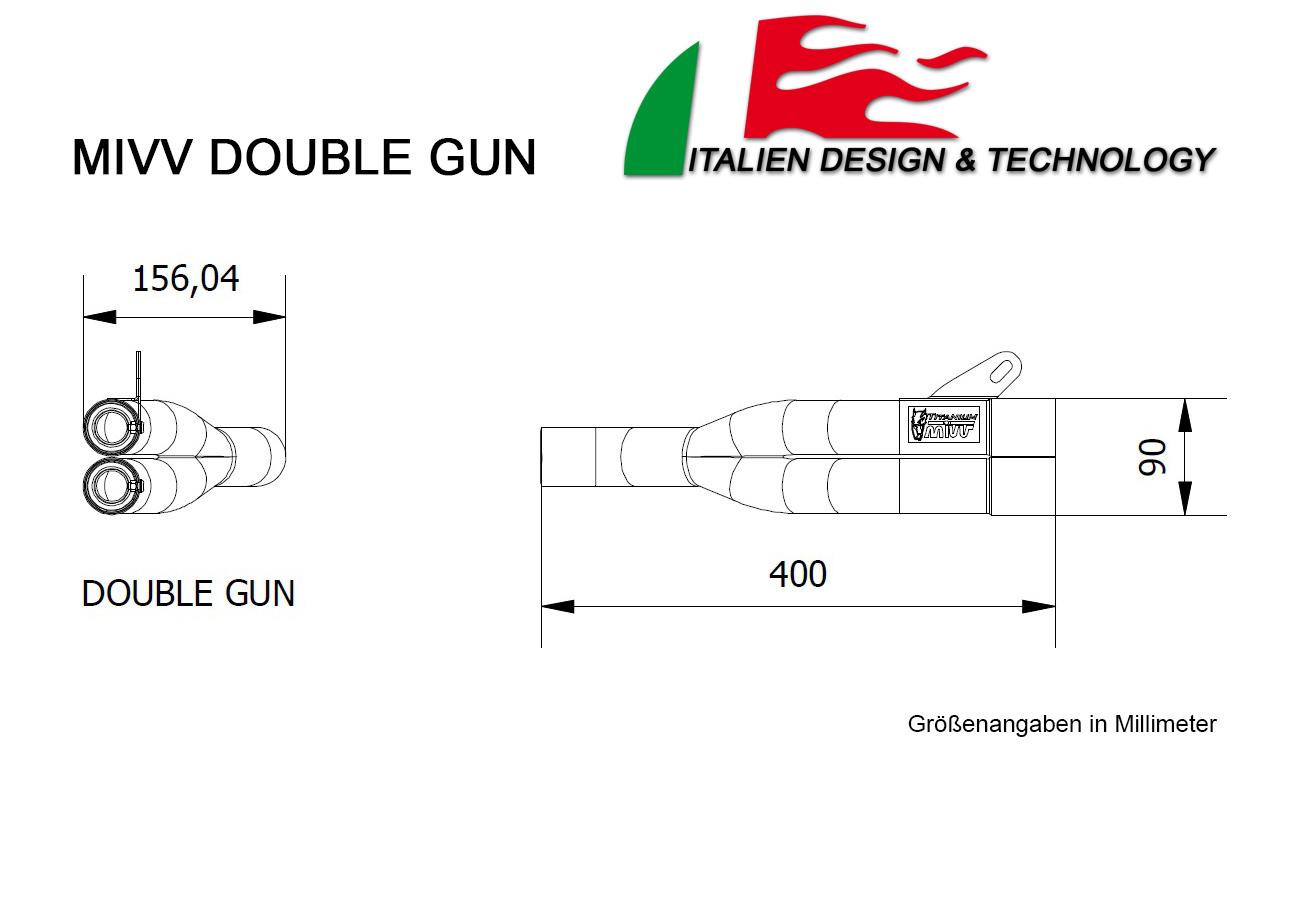 MIVV Kawasaki Double Gun Z 1000 Auspuff ab 2011 bis 2013